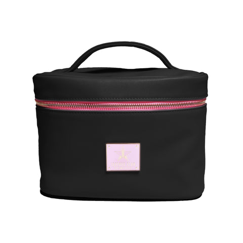 Black travel bag with pink logo plate