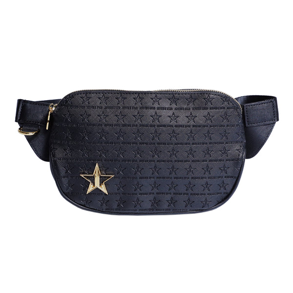 Black with star engraved logo cross body bag
