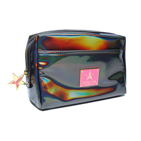 Holographic Black Makeup Bag