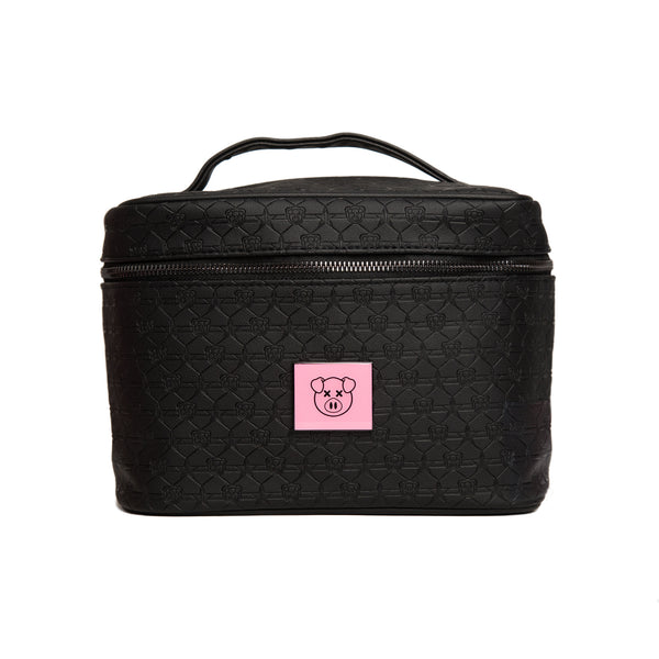 Shane Dawson pig and Jeffree Star logo imprint black travel makeup bag