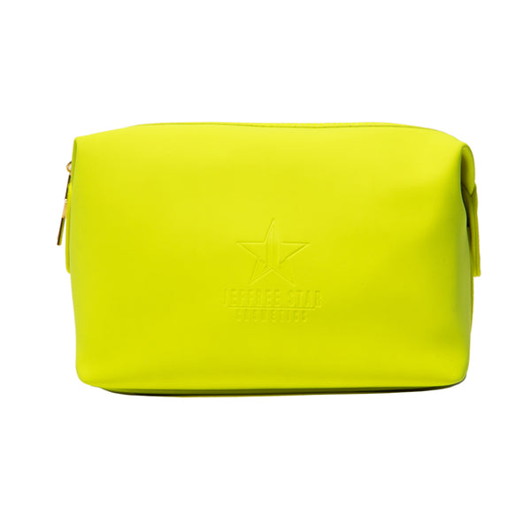 Neon green velour large makeup bag