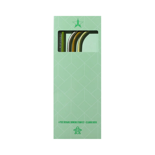 Green Metal Straw 4-Pack