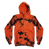 Orange and black tie-dye pull over hooded sweatshirt with small Jeffree Star Cosmetics logo star | Image 1