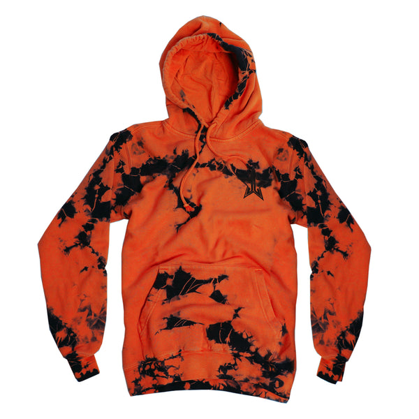 Orange and black tie-dye pull over hooded sweatshirt with small Jeffree Star Cosmetics logo star