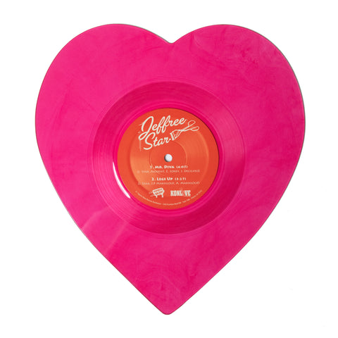 "'Mr. Diva' 7"" Transparent Pink Heart-Shaped Vinyl"