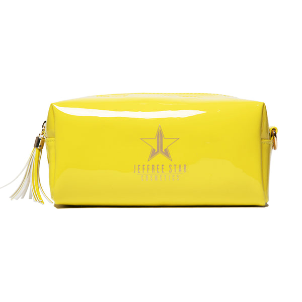 Chartreuse vinyl Jeffree Star Cosmetics accessory bag