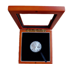 Wooden Display case for Silver Eagle coins