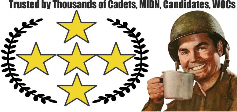 Banner displaying 5 Star review rating. Also, the iconoic image of a WW2 GI lifting a canteen cup up as if to take a drink, while having a big grin.