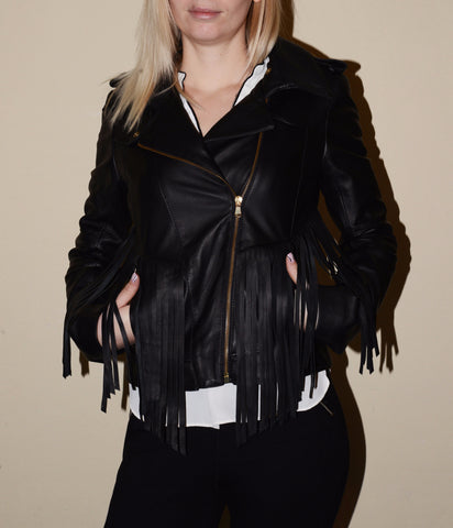 "Jacket genuine leather with fringes ""Zoe"""