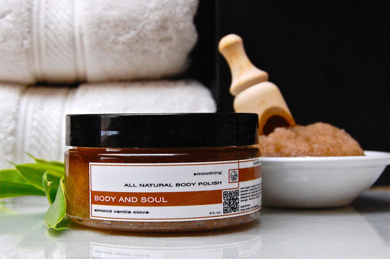 BODY AND SOUL Skin Conditioning Body Polish Almond Vanilla Clove