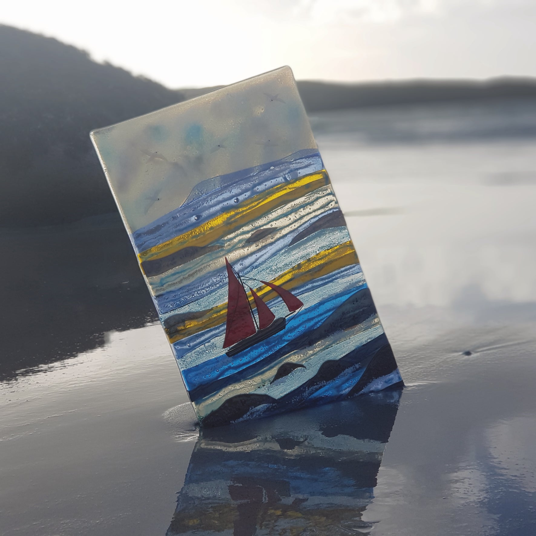 Wild Atlantic Waves on the Wild Atlantic Way, handcrafted in kiln-fused glass by Connemara Blue