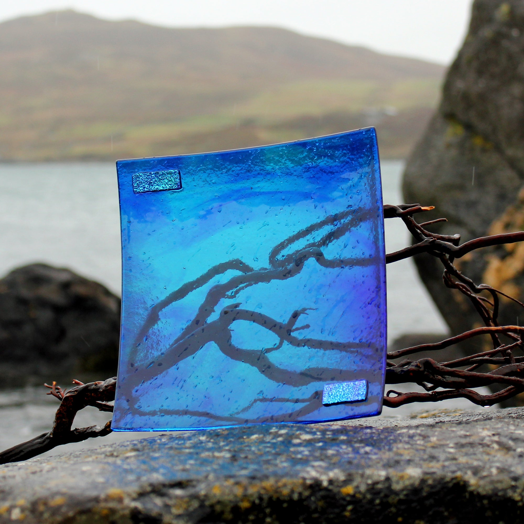 connemara blue fused glass