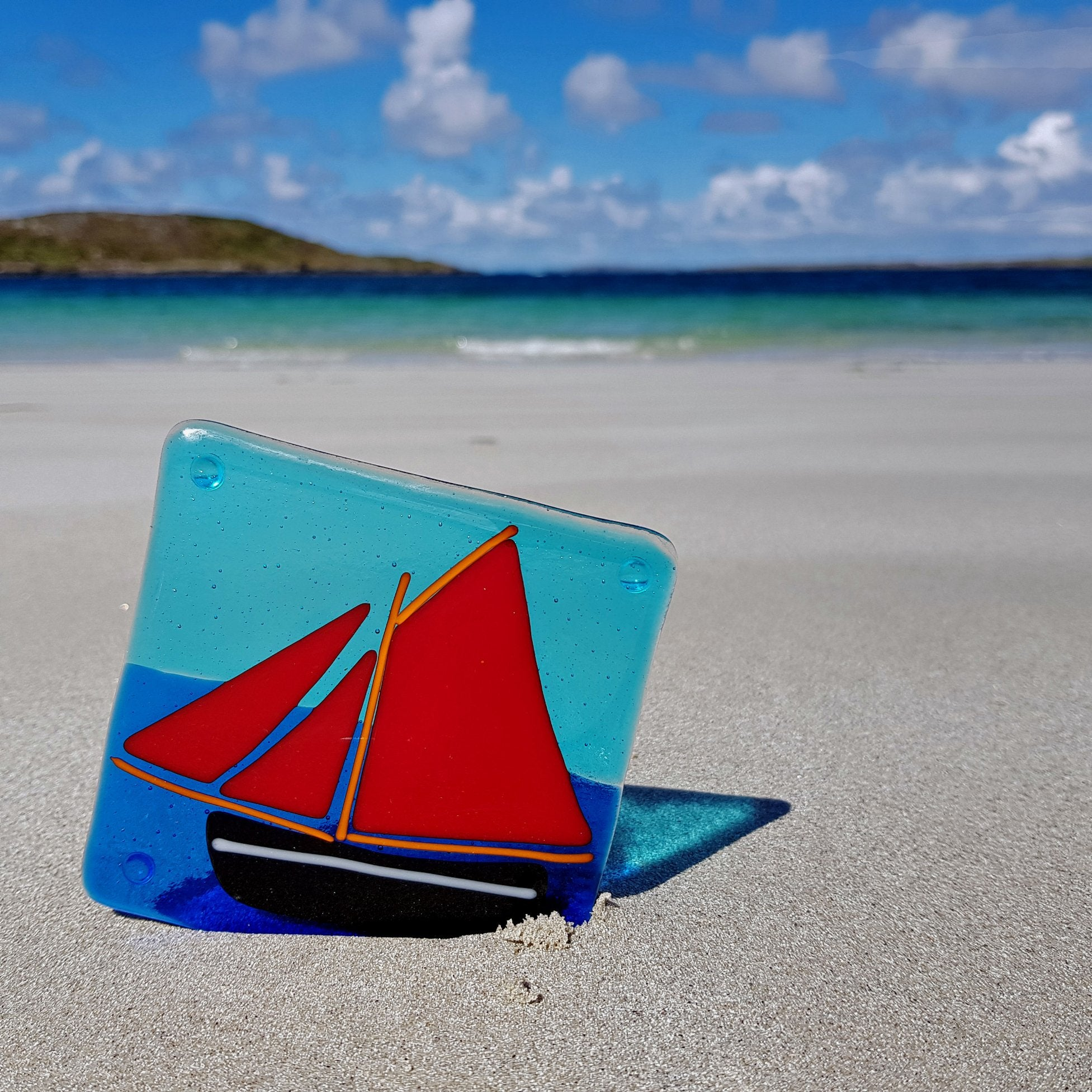 fused glass galway hooker coaster by Connemara Blue