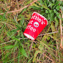 A disposable coffee cup in the verge, photographed on the Wild Atlantic Way by Connemara Blue