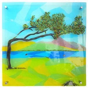 A close up of a fused glass panel of Croagh Patrick, made by Connemara Blue