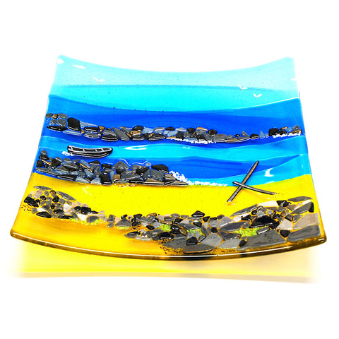 'Anchor Beach' - Fused Glass Plate