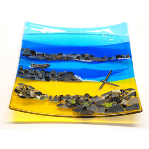 Anchor Beach fused glass plate by Connemara Blue