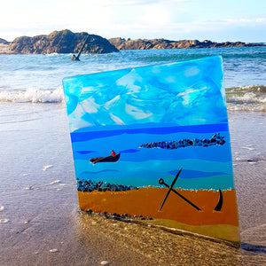 A large fused glass wall panel showing Anchor Beach, made by Connemara Blue