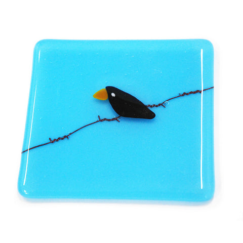 'Bird on a Wire' - Fused Glass Coaster (Opal)