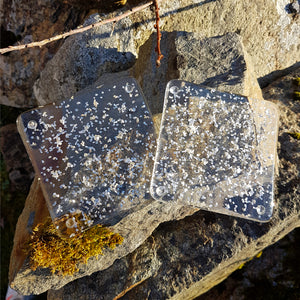 A beautiful fused glass coaster with sparkly glitter inclusions by Connemara Blue