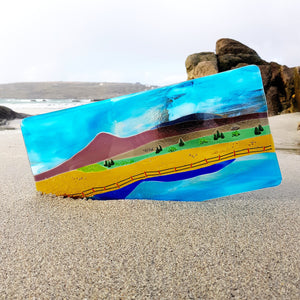 Fused glass wall panel featuring Clew Bay, Croagh Patrick, made by Connemara Blue