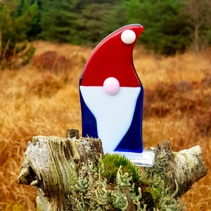 Freestanding fused glass Christmas Tomte (gnome), made by Connemara Blue
