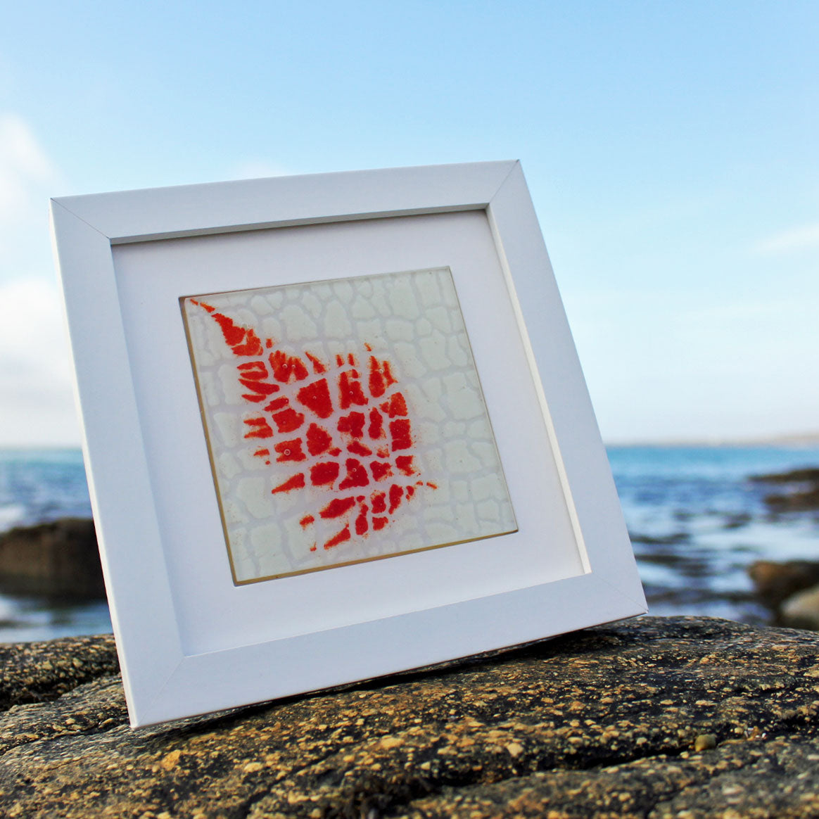 Red Fern on White - Framed