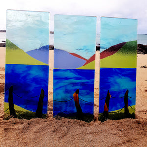 Fused glass wall panels featuring Lough Fee, Connemara, made by Connemara Blue