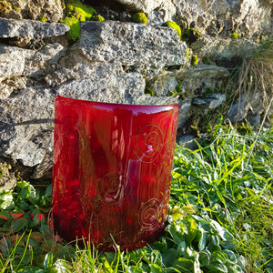 'Red Swirl' - Fused Glass Candle Shield