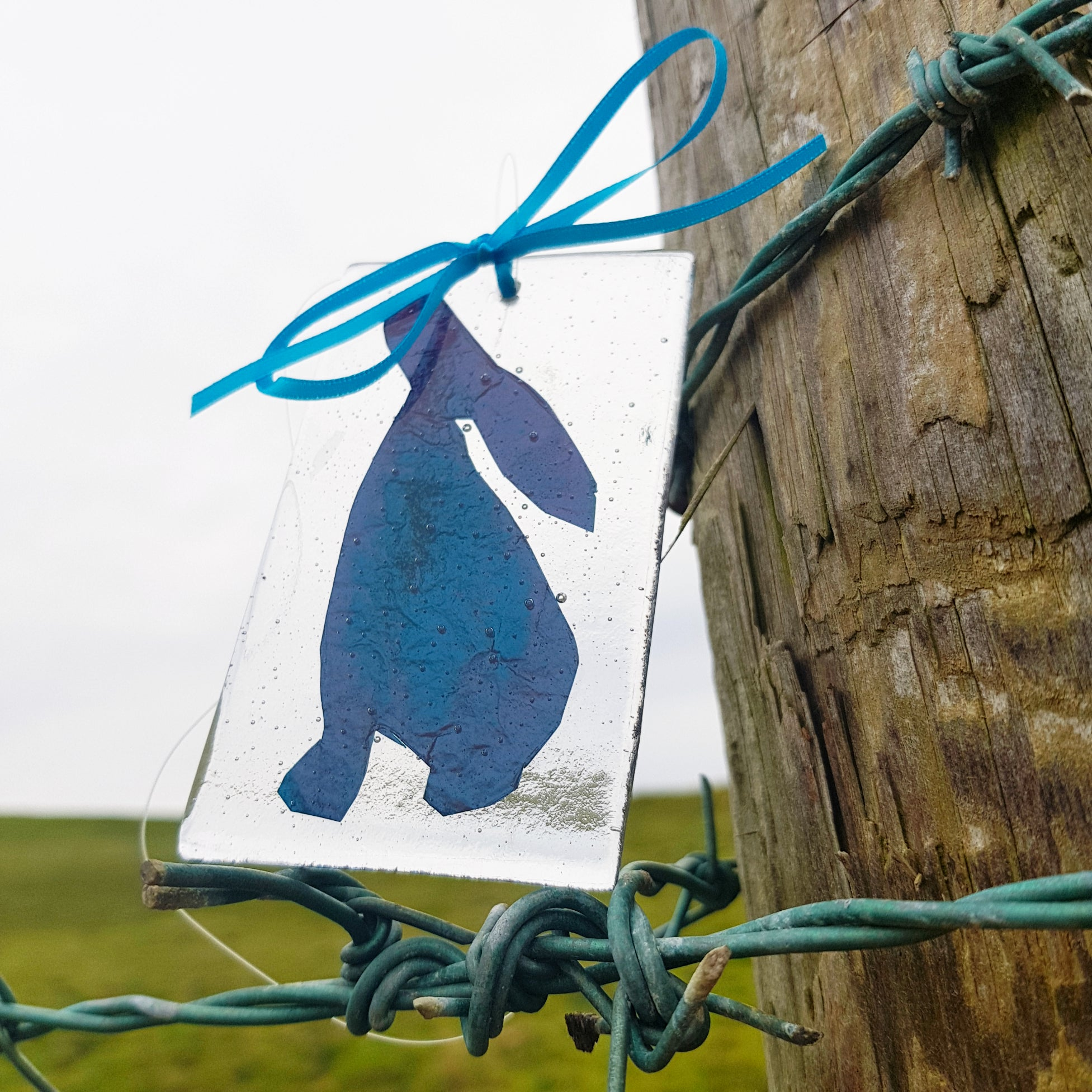 'Moon Gazing Hares' - Clear Fused Glass Suncatcher