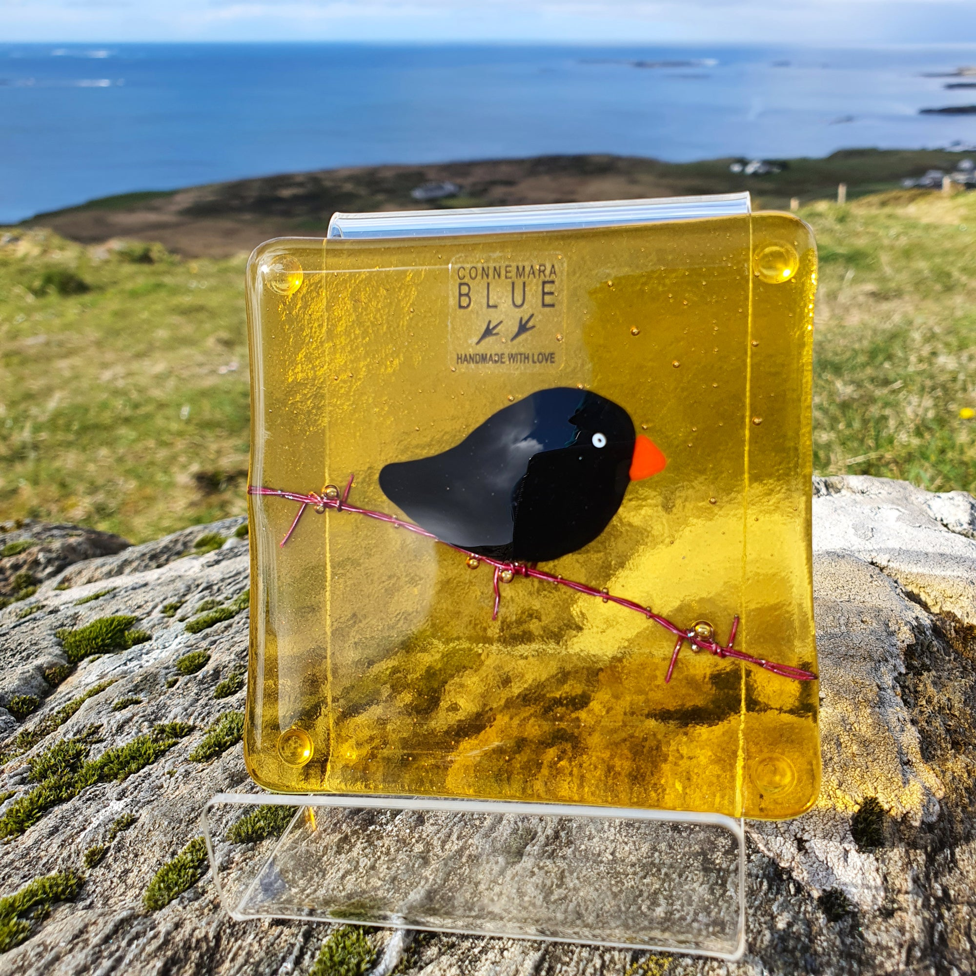 A fused glass coaster featuring a blackbird on barbed wire, handmade by Connemara Blue