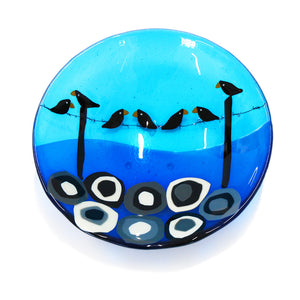 'Bird on a Wire' - Fused Glass Bowl