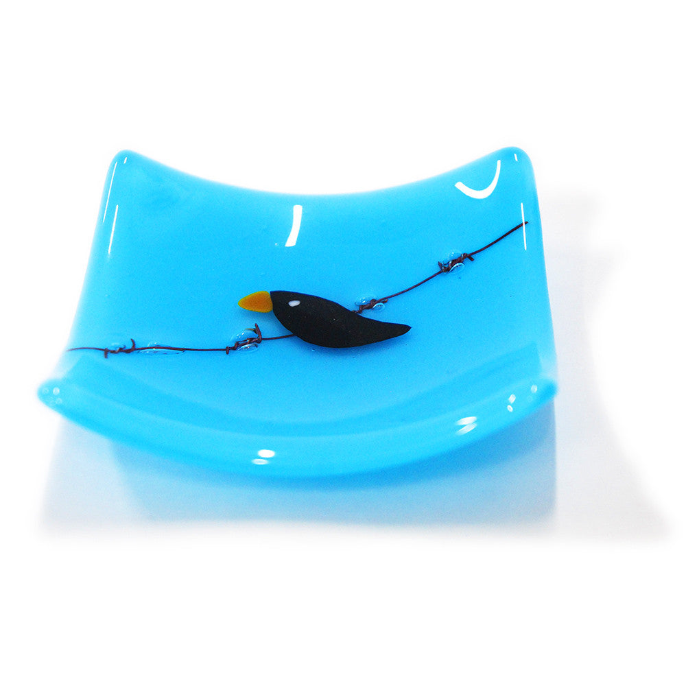 'Bird on a Wire'  - Fused Glass Trinket Dish (Opal)
