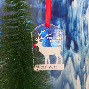 A fused glass decoration featuring a Rudolph in white with a red nose and Clifden inscription