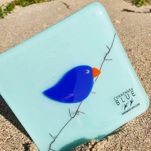 A fused glass coaster featuring a deep cobalt blue bird on barbed wire, set against a light blue background