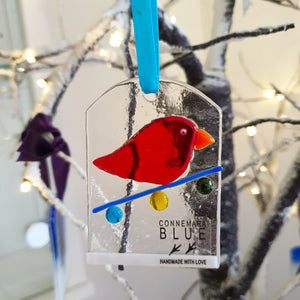 'Festive Crazy Bird' - Fused Glass Hanging Decoration