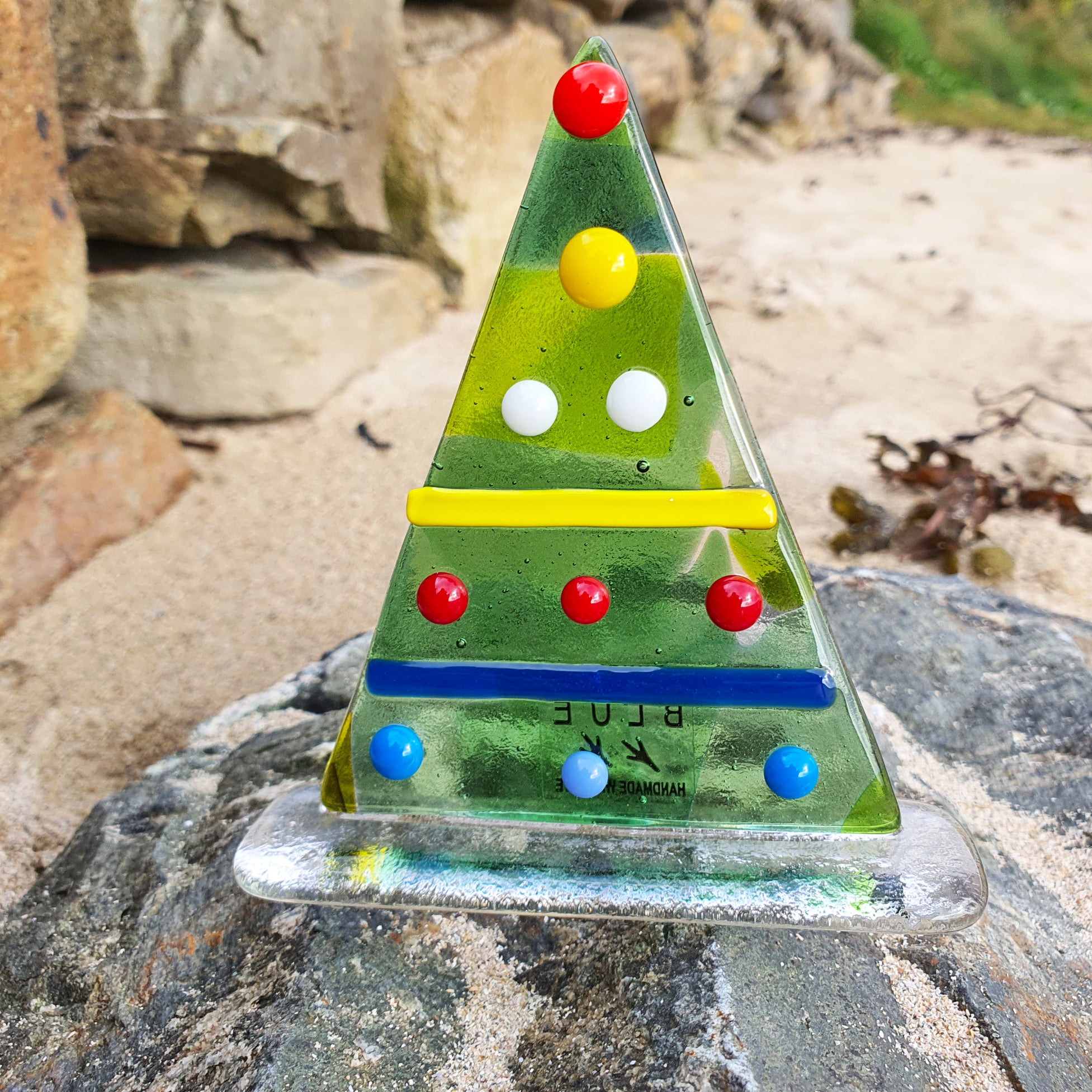 Fused glass freestanding Christmas Tree, made by Connemara Blue