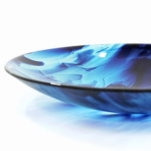 Fused glass blue streaky bowl, made by Connemara Blue