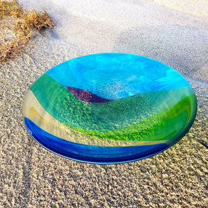 Fused glass bowl featuring the colours and curves of the Connemara landscape, made by Connemara Blue