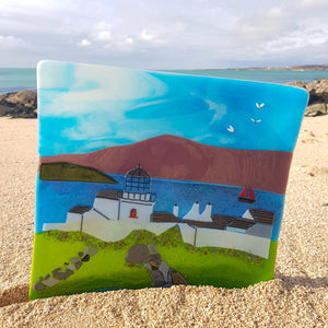 Fused glass plate featuring Clare Island Lighthouse, made by Connemara Blue