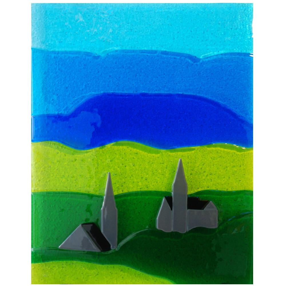 Fused glass wall panel featuring Clifden's churches, made by Connemara Blue