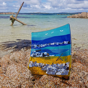Fused glass plate featuring Anchor Beach, made by Connemara Blue