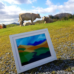Framed fused glass art featuring the 12 Bens in Connemara, made by Connemara Blue