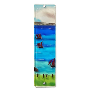 Fused glass wall panel showing Galway Hookers, made by Connemara Blue