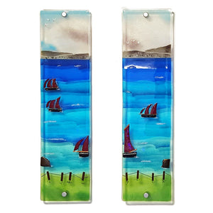 Fused glass wall panels 1 and 2 showing Galway Hookers, made by Connemara Blue