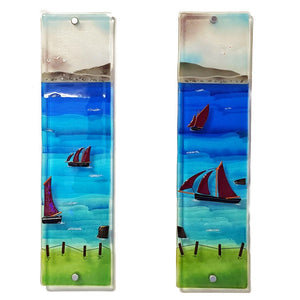 Fused glass wall panels 2 and 3 showing Galway Hookers, made by Connemara Blue