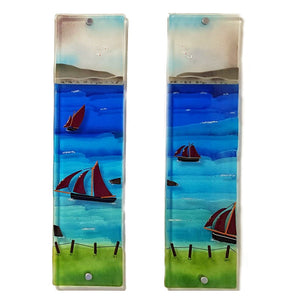 Fused glass wall panels 3 and 4 showing Galway Hookers, made by Connemara Blue