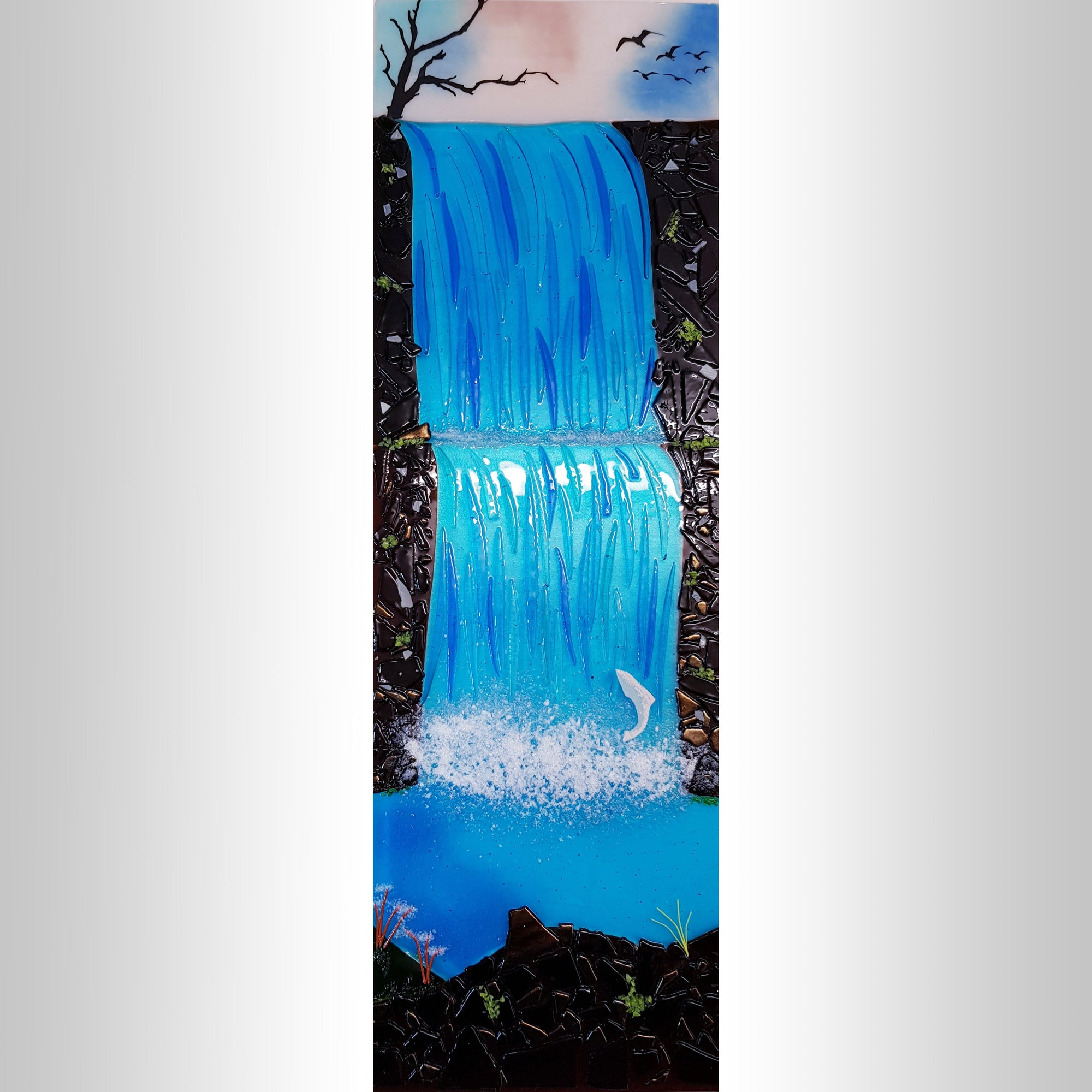 A fused glass wall panel showing the cascading Aasleagh Falls, made by Connemara Blue