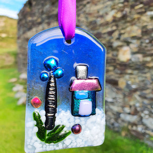 'Fairy Garden' - Fused Glass Hanging Tree Decoration