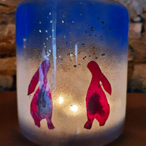 'Moon Gazing Hares' - Fused Glass Candle Shield